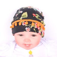 Wholesale Knit Ball Headband - New Baby Girls Headbands Europe Style Printed Halloween hair ball shape knit Baby Hat headwear 2colors Children Hair Accessories