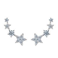 yıldız altın 925 toptan satış-en iyi hediye gerçek 925 ayar gümüş altın ve lüks moda yıldız küpe kızlar için tasarımlar beyaz altın kaplama damızlık küpe gül