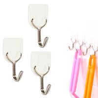 Atacado- Prático 6 PCS White Bathroom Door Hooks Family Wall Hanger Hats Bag Key Adhesive Plastic Hook Coat Wall Ganchos