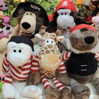 Wholesale Pirate Plush Bears - Wholesale-Nici Pirate Animals plush toys Soft Plush doll Movies & TV Lion , Bear, Monkey, Wall lizard, Deer doll 5pcs set have
