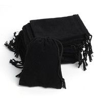 Wholesale Small Velvet Jewelry Pouches - Free Shipping 100Pcs lot 7x9cm Portable Black Velvet Gift Pouch Small Jewelry Bag jewelry Packaging Pouch
