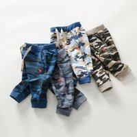 Wholesale Korean Kids Pants For Boy - 2017 Autumn and Winter Camouflage kids sport pants cotton embroidery Korean tracksuit for boys girls boutique clothing Wholesales