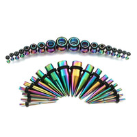 Wholesale Ear Gauges Tapers - Rainbow Ear Gauges Stretching Kit 36 pcs Surgical Steel Tapers and Plugs 14G - 00G 18 Pairs