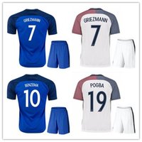 Wholesale Fr S - 2016 Euro Cup Soccer Jersey kits Fr camisetas de futbol 2017 Ribery Zidane Benzema Griezmann Pogba Henry Football Shirts