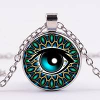 Wholesale Vintage Cat Gold Necklace - Vintage Jewelry Wholesale Blue Green Cat Eye Necklaces Pendant Fashion Charming time Stone Glass Necklace for Men Women