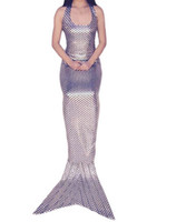 ingrosso reggiseno bambino-silver color mermaid tails for girls summer party cosplay halloween costumes for kids child fish costume Fish scales with bra wholesale