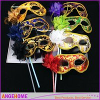 Wholesale Masquerade Flower Stick - HandMade Party Mask with stick Wedding Venetian Half face flower mask Halloween Masquerade princess Dance party Mask 6 color