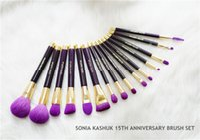ingrosso set di pennelli viola trucco-Sonia Kashuk celebra 15 anni di pennelli vincitori di premi Edizione Limitata 15 pezzi Pennello anniversario viola Set per la bellezza Makeup Blender DHL Free