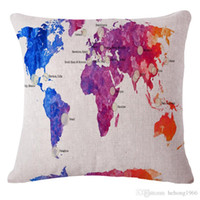 Wholesale Embroidered Linen Cushion Cover - Map Modelling Cushion Popular Bed Sofa Back Pillow Case Soft Cotton Linen Bolster Square Home Decor Durable Cover 7rx R