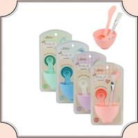 Wholesale Makeup Spong - 4 in 1 DIY Facial Beauty Mask Bowl Women Ladies Cosmetic Beauty Makeup Tool Mixed Spong Brush with Stick Brush Set Face Mask kit