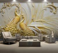 gráficos de pared modernos al por mayor-Papel de pared 3d personalizado para sala de estar para paredes para sala de estar Papel pintado de pared 3D en relieve de pavo real dorado
