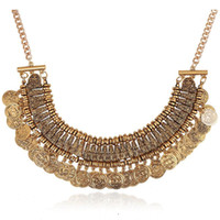 Wholesale Wholesale Chunky Fashion Jewelry - Fashion Jewelry Silver Coins Pendant Statement Bib Chunky Chain Choker Collar Necklace Tassel coin Necklace Dress Accessory Gold Silver