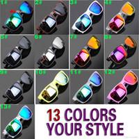 Wholesale 13 Aluminum - 13 colors summer new sunglasses women men reflective coating sun glass cycling sports dazzling brand new eyeglasses