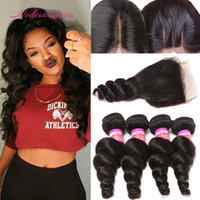 Wholesale Very Weaves - Hot Selling Mongolian Loose Curl Human Hair Wefts 4 Bundles With Lace Closure Very Nice Cheap Mongolian Loose Wave Lace Closure & Bundles