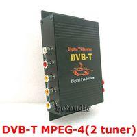 Wholesale Dvb Car Receiver - HD Car TV Tuner Mobile DVB-T MPEG-4 Digital TV Receiver Box With Dual antennas High Speed