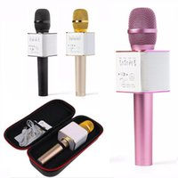 Wholesale Horn Speaker For Iphone - Q9 Bluetooth Microphone Portable Handheld Wireless KTV Karaoke Player Dual Horns Loudspeaker Speaker For iPhone 7 Plus OTH084