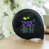 Wholesale Wireless Color Weather Station - Multi-functional Smart Weather Station Color LED In Outdoor Electronic Thermometer Hygrometer Home Wireless Comma Weather Clock