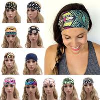 Wholesale Gorgeous Beauty - Fashion Fitness Headband Printed Bohemia Style Beauty Running sport Yoga Headbands Women Wide Head Wrap Various Gorgeous Pattern YYA498