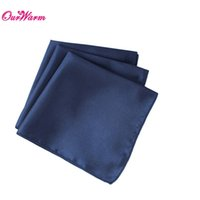 "Wholesale Navy Napkins - 100pcs lot Navy Blue Satin Table Dinner Napkin 12"" Square Pocket Handkerchief wedding decoration event party supplies"