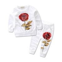 traje deportivo flor al por mayor-Lentejuelas para niños trajes con capucha de flores conjuntos de 2 piezas pullover rosa de lentejuelas + pantalones para niños trajes deportivos casual para 2-7T