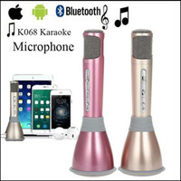 Wholesale home karaoke player - K068 Mini Karaoke Microphone+Speaker Bluetooth 3.0 Home KTV karaoke Player KTV Singing Record For Smart Phones Computer via DHL free