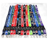 Wholesale Lanyard Id Keychain - 100pcs lot Football Teams Lanyard ID Card Badge Holder Detachable Keychain For Xmas Gifts Hot Sales Free Shipping