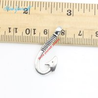 Wholesale hooks for necklaces resale online - 10pcs Antique Silver Plated Fish Hook Charms Pendants Necklace Bracelets for Jewelry Making DIY Handmade Craft x13mm