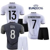 Wholesale Germany Away - 2016 Deutschlan Muller Jerseys Home Away Germany Soccer Jerseys Sets SCHWEINSTEIGER OZIL Gotze Reus Kroos Neuer HUMMELS Euro FootballKits