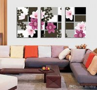 Wholesale beautiful flower art painting resale online - Modern Beautiful Flower Fine Floral Painting Giclee Print On Canvas Home Decor Wall Art Set30371