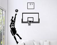grandes murais de parede frete grátis venda por atacado-Frete Grátis: Pequeno Médio Grande Preto 3D DIY Foto No.24 Jogador de Basquete PVC Decalques / Família Adesivo de Parede Adesivos Mural Art Home Decor