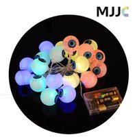 Wholesale Haunted Bar Decorations - Halloween Props LED Eyeball String Light Battery Operated Haunted House Supplies Bar Decoration Horrific Festival Lamp Waterproof