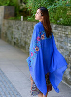 Wholesale Chiffon Korean Women Fashion - Korean stylish ethic floral embroidery women winter autumn scarf shawls many colors available size 90x180cm