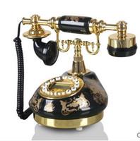keramische telefone großhandel-Schöne Festnetztelefone Schwarzes keramisches vergoldendes rustikales antikes Telefon altmodisches Wohnzimmer örtlich festgelegt