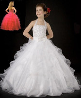 Wholesale Halter Princess Pageant Dresses - Halter Beading Princess Flare Stunning New Glamorous Ball Gown Flower Girl Dresses Organza Girl's Pageant Dress