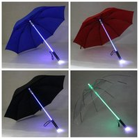 Wholesale Led Flashing Umbrellas - LED Light Rain Umbrella LED Light Flash Umbrella Light Saber Umbrella Safety Fun Blade Runner Night Protection 4 Colors OOA2581