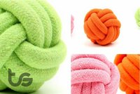 Wholesale Large Rope Dog Toy - Candy colors Cotton rope Ball Diameter:8CM Dog toys 100% Cotton 8cm XL Dog Toys large Dogs Bite Rope Labrador Large Dog toys Pet toy