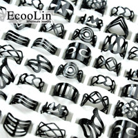 Wholesale Bulk Bands - EcooLin Jewelry Vintage Black Zinc Alloy Gypsy Adjustable Finger Tattoo Rings Toe Ring Lots For Women Men Bulk Jewelry Lots Mix Style BK4010