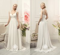 Wholesale 3d Designers Cheap - 2017 New Designer Cheap A-line Wedding Dresses Beach Chiffon Appliques Spaghetti Straps Backless Sweetheart Corset Back Ruched Bridal Gowns