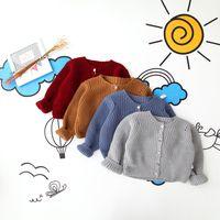 Wholesale Sweater Korean Girl - Girls Sweater Christmas Kids Clothing 2016 Autumn Winter Solid Sweater Korean Fashion Long Sleeve Knitting Cardigan Sweater ER-243