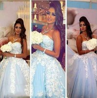 Wholesale Cheap Light Blue Bridal Gowns - 2017 Ball Gown Wedding Dresses with Sweetheart Neck Sleeveless Lace Appliques Sweep Train Light Blue Tulle Cheap Bridal Gowns