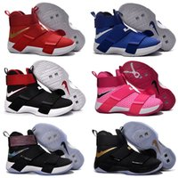 Wholesale Cheap Floral Print Tops - Free Shipping 2017 Cheap Lebron LBJ Soldier 10 X Basketball Shoes Men Top Quality Authentic Sneakers Hot Sale Zoom Sports Shoe Size 7-12