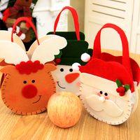 Wholesale plastic sacks - Handbag Non Woven Fabric Santa Reindeer Snowman Sack Durable Christmas Apple Candy Gift Bag Durable Xmas Decor 5qy F R