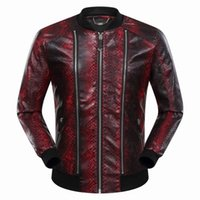 Wholesale Stripes Small Jackets - 2017 New Autumn Winter Men's Snake Stripes Jacket Length Sleeve Leather Hoodies Mens Zipper Outwear Jackets 9056