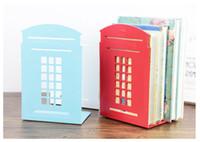 Wholesale Telephones Sets - 45set 2pcs set Modern metal book shelf Classical London Street Red Telephone Booth Design bookshelf for home decoration ZA0592