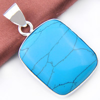 Wholesale Unique Gem Jewelry - High Quality Luckyshine 10PCS 1Lot Oval Mosaic Jasper Colored Turquoise Crystal Gems 925 Silver Pendant Unique Russia Weddings Jewelry Gift