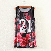 Wholesale Rose Tank Dress - Wholesale-Red rose letters print tank tops women casual sportwear 2016 fashion design summer dresses girls sleeveless tanks