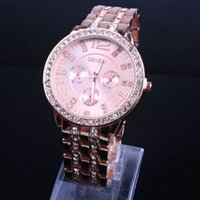 Wholesale Vogue Watches Women - 300pcs hot sale Quartz watches fashion designer metal alloy rose gold Geneva Calendar vogue lady woman men diamond watches