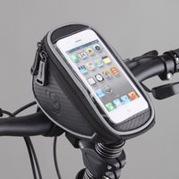 Wholesale Bike Bag Cellphone - Hot New Wholesale Roswheel Cycling Bike Bicycle Front Frame Handlebar Bag Pouch for 5in Cellphone Panniers & Bags