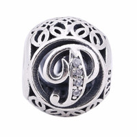 Wholesale Letter P Bracelet Charm - Letter P Silver Bead Charms Fit Pandora Snake Chain & Bracelet 2017 Europe Popular 925 Sterling Silver Beads For Woman DIY Jewelry BF51