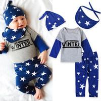 Wholesale Boys Clothing Set Pcs - Baby Clothing 4 pcs Sets Newborn Letter Patchwork Tops Star Printed Pants Bib Hat Outfits Suits Autumn Baby Boy Clothes 2017